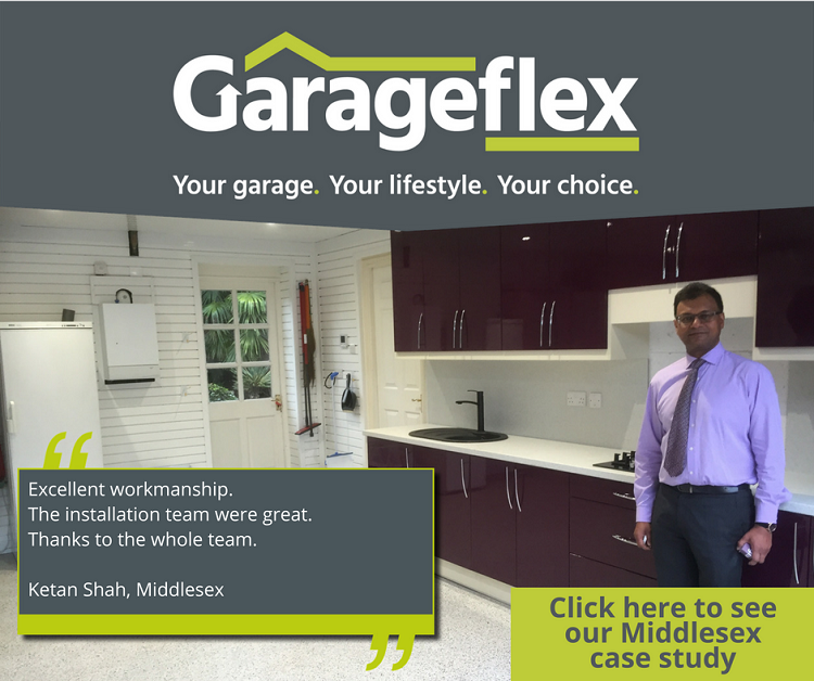 KGarageflex managed the whole process from installing kitchen cabinets to laying a resin floor and adding wall storage.