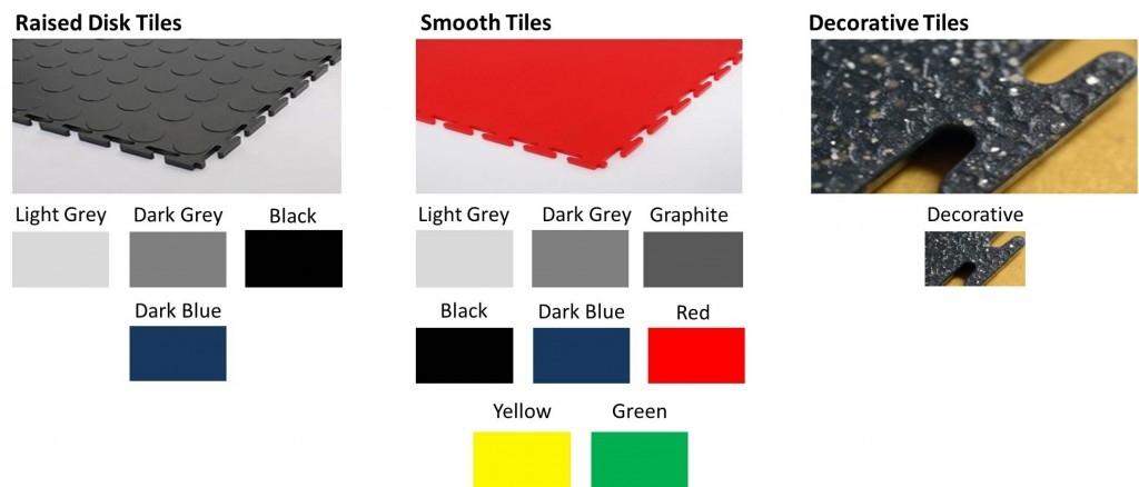 Garageflex Floor Tile Colours available including raised disk, smooth tiles and decorative finishes
