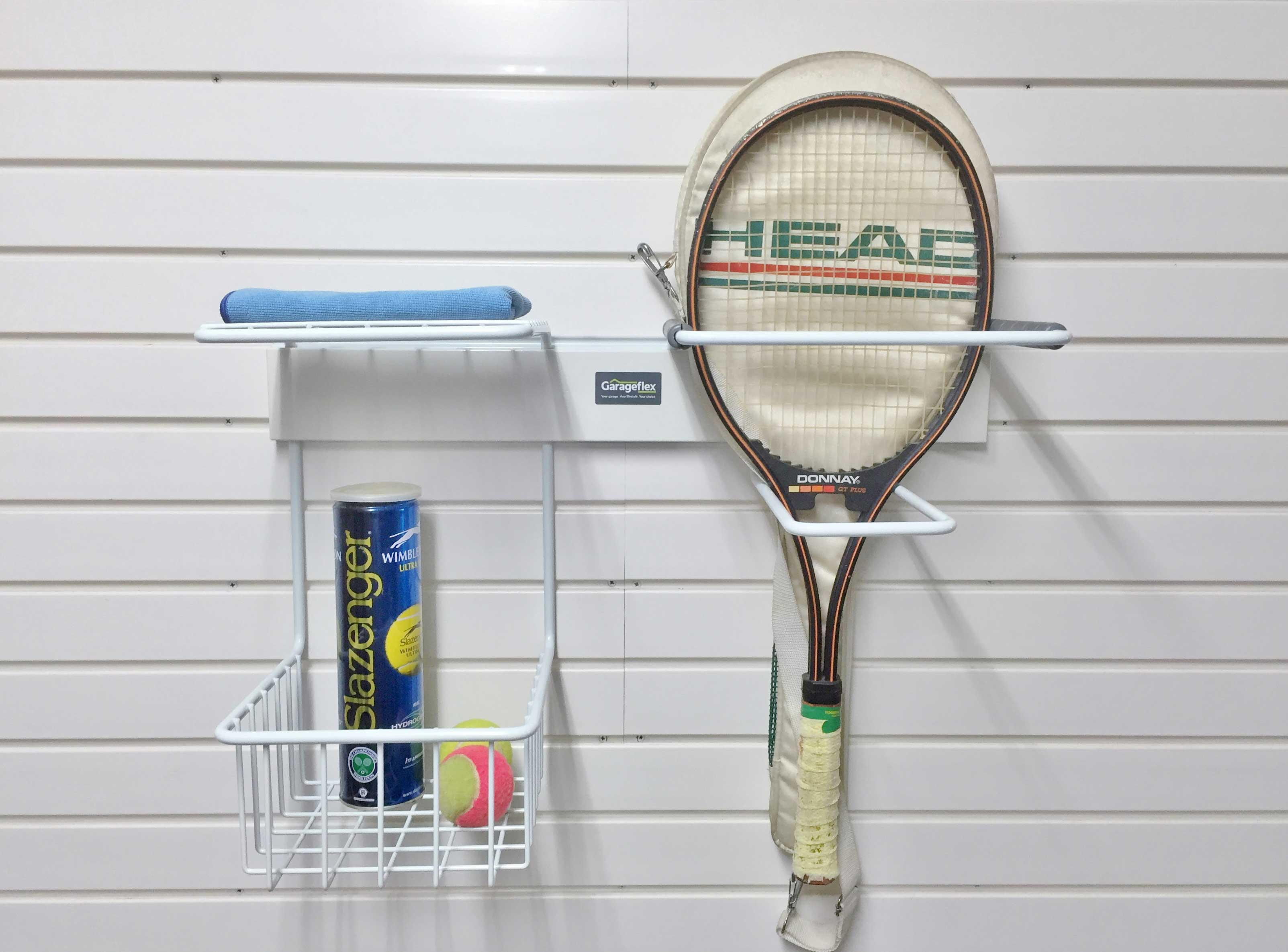 Garage Wall Storage: Tennis Rack storage solution available from Garageflex