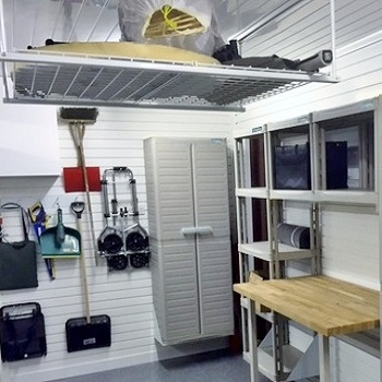 Garage Ceiling storage accessories includes hooks, racks and hangers