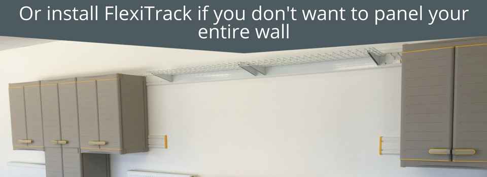 Garage Wall Storage: Use FlexiTrack if you don't want to panel your entire wall