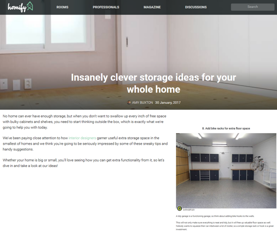 Garageflex feature in Homify article Insanely clever storage ideas article