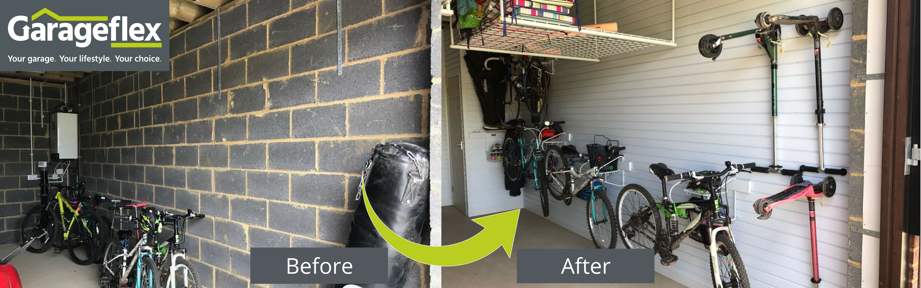Hertfordshire New Build Garage Storage Solutions Before and After by Garageflex