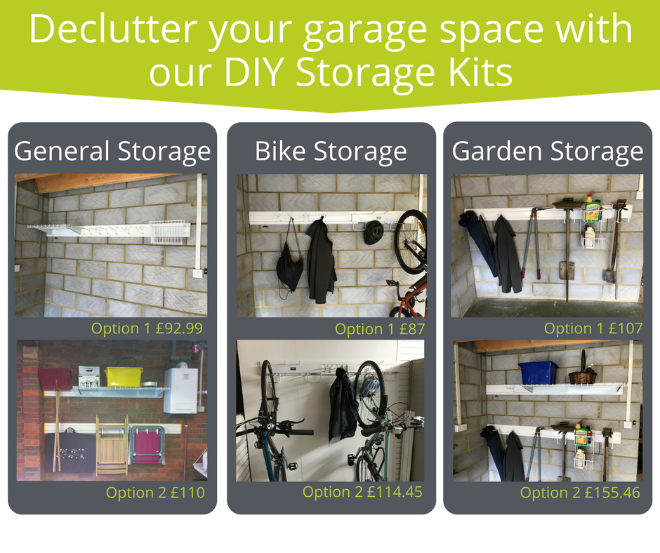 Declutter your garage space with our DIY Storage Kits