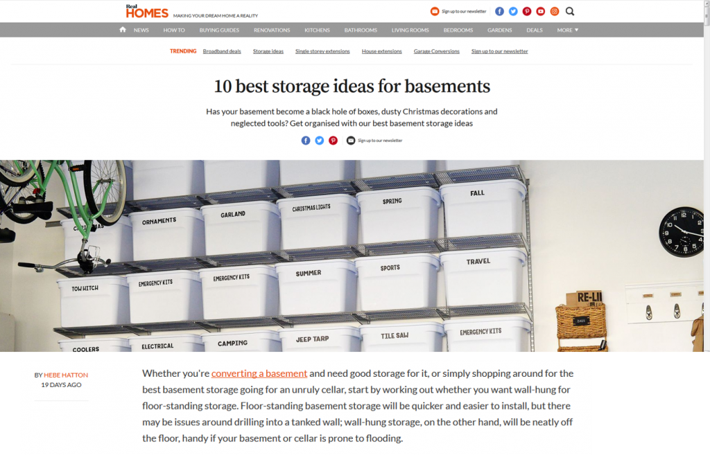 Real Homes Basement Storage Article